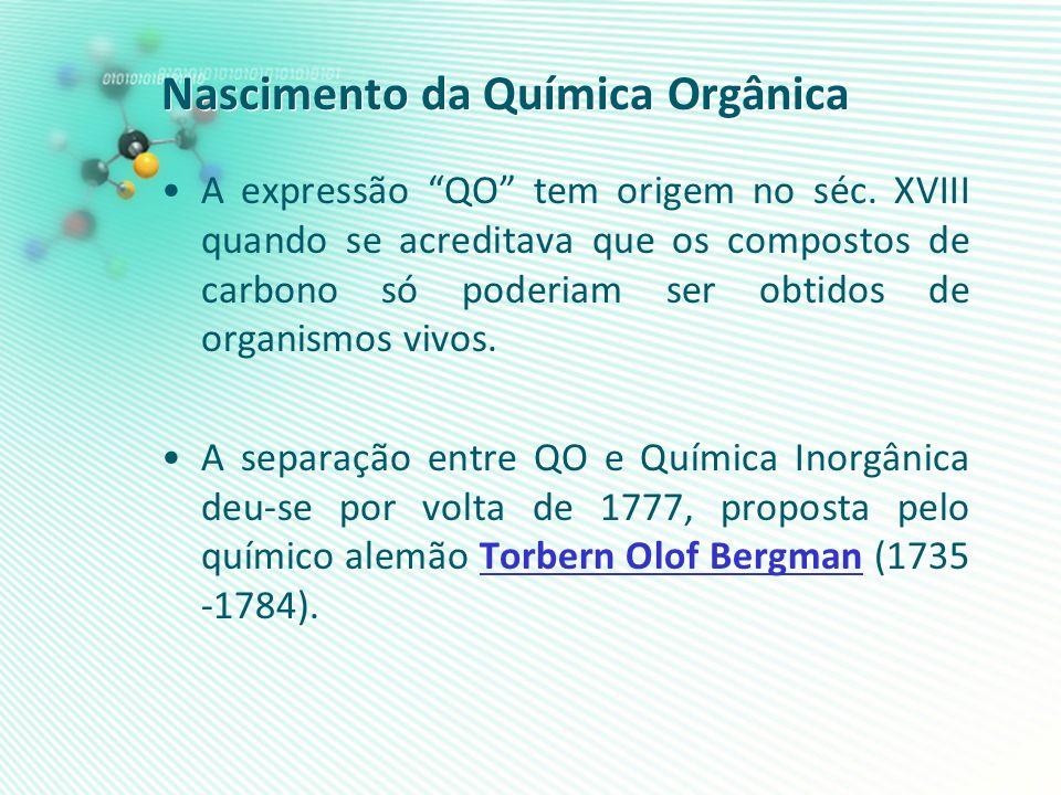 Nascimento da Química Orgânica A expressão QO tem origem no séc. XVIII quando se acreditava que os compostos de carbono só poderiam ser obtidos de org