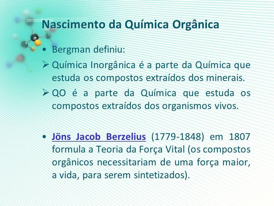 Nascimento da Química Orgânica Bergman definiu: Química Inorgânica é a parte da Química que estuda os compostos extraídos dos minerais. QO é a parte d