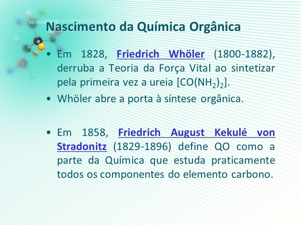 Nascimento da Química Orgânica Em 1828, Friedrich Whöler (1800-1882), derruba a Teoria da Força Vital ao sintetizar pela primeira vez a ureia [CO(NH 2