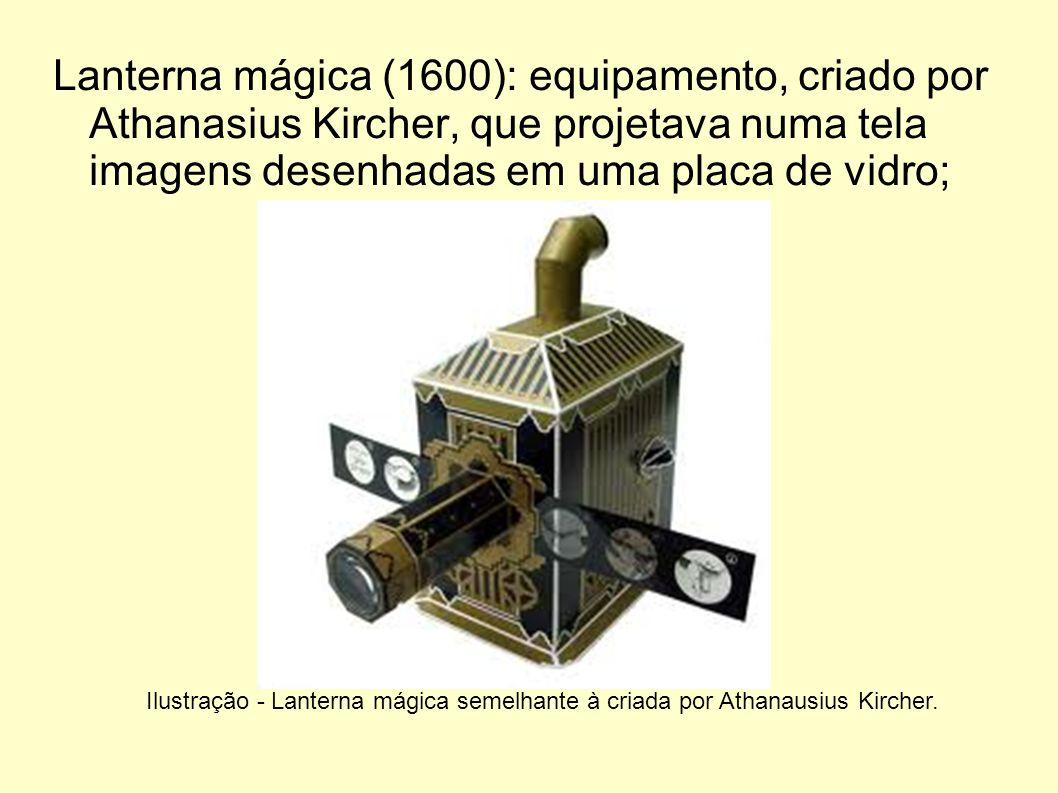 Lanterna mágica (1600): equipamento, criado por Athanasius Kircher, que projetava numa tela imagens desenhadas em uma placa de vidro; Ilustração - Lan