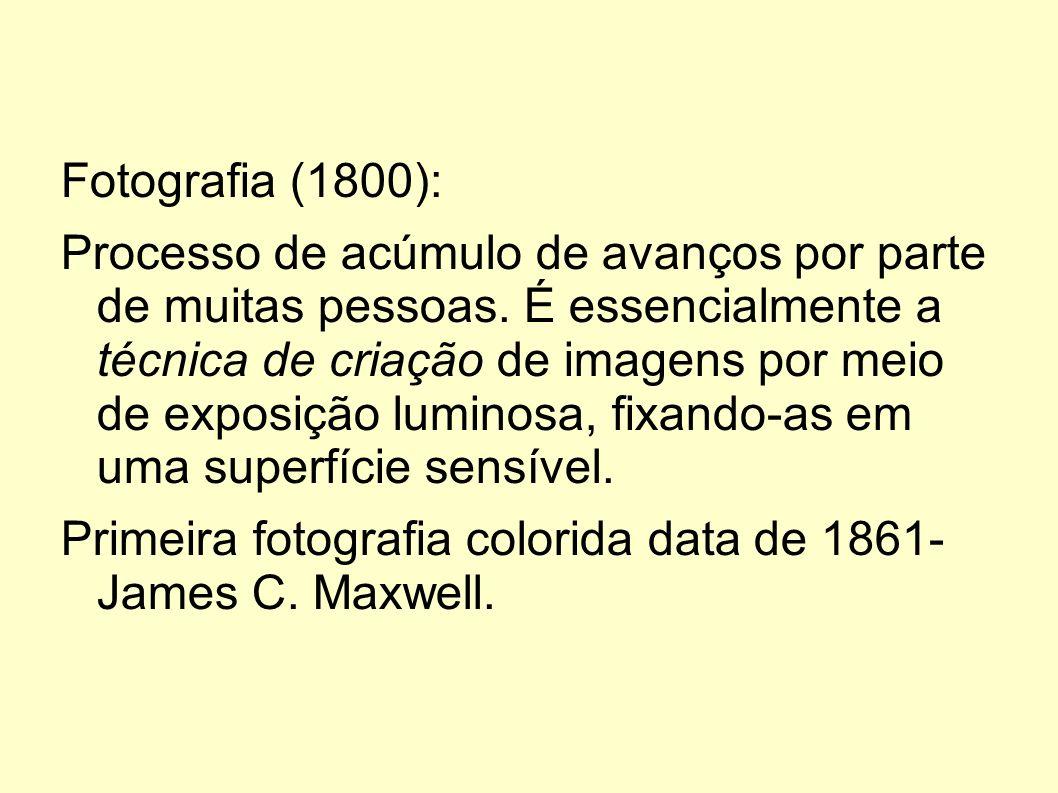Fotografia (1800): Processo de acúmulo de avanços por parte de muitas pessoas. É essencialmente a técnica de criação de imagens por meio de exposição