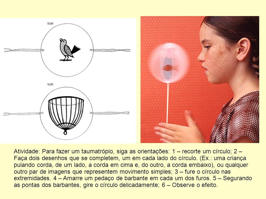 Atividade: Para fazer um taumatrópio, siga as orientações: 1 – recorte um círculo; 2 – Faça dois desenhos que se completem, um em cada lado do círculo