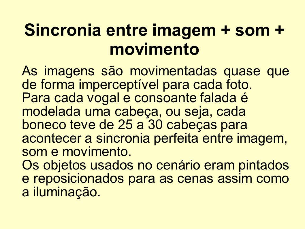 Sincronia entre imagem + som + movimento As imagens são movimentadas quase que de forma imperceptível para cada foto. Para cada vogal e consoante fala
