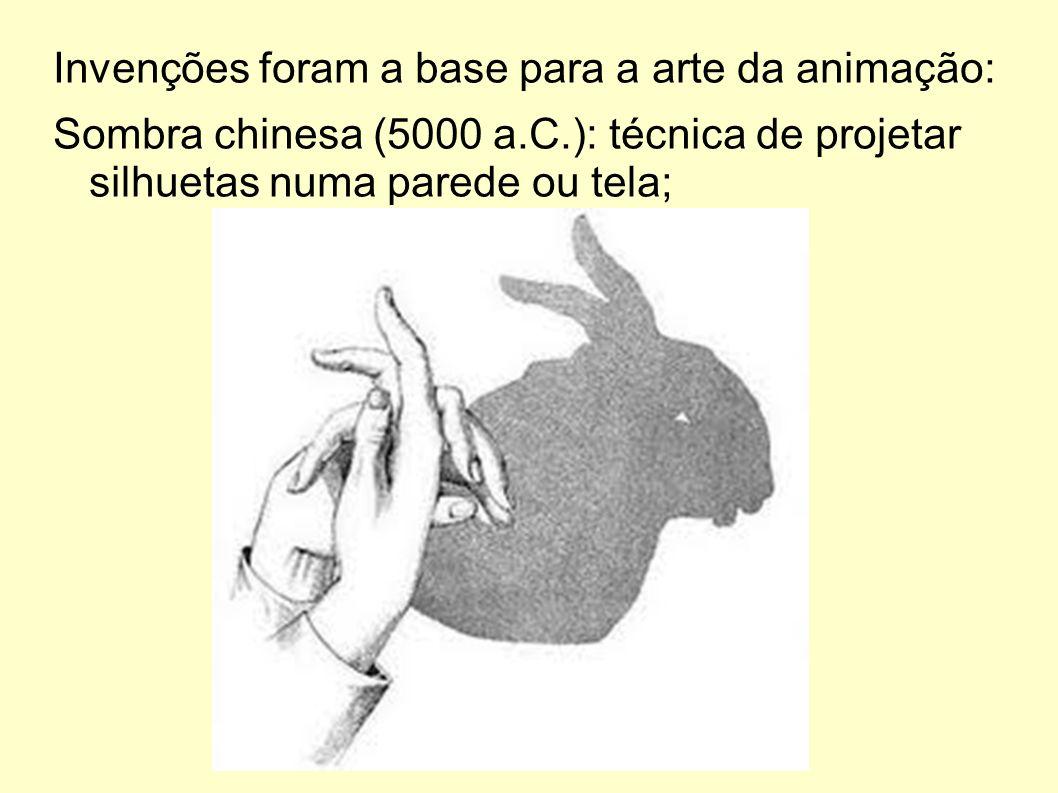 Invenções foram a base para a arte da animação: Sombra chinesa (5000 a.C.): técnica de projetar silhuetas numa parede ou tela;