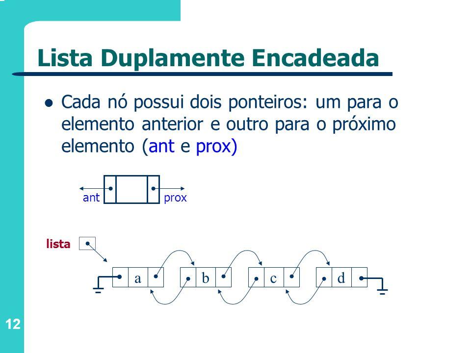 12 Cada nó possui dois ponteiros: um para o elemento anterior e outro para o próximo elemento (ant e prox) proxant abcd lista Lista Duplamente Encadea