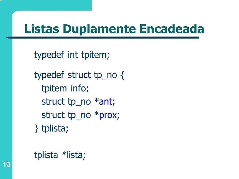 13 Listas Duplamente Encadeada typedef int tpitem; typedef struct tp_no { tpitem info; struct tp_no *ant; struct tp_no *prox; } tplista; tplista *list