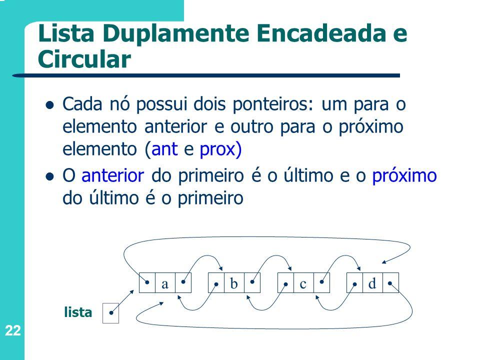 22 Cada nó possui dois ponteiros: um para o elemento anterior e outro para o próximo elemento (ant e prox) O anterior do primeiro é o último e o próxi