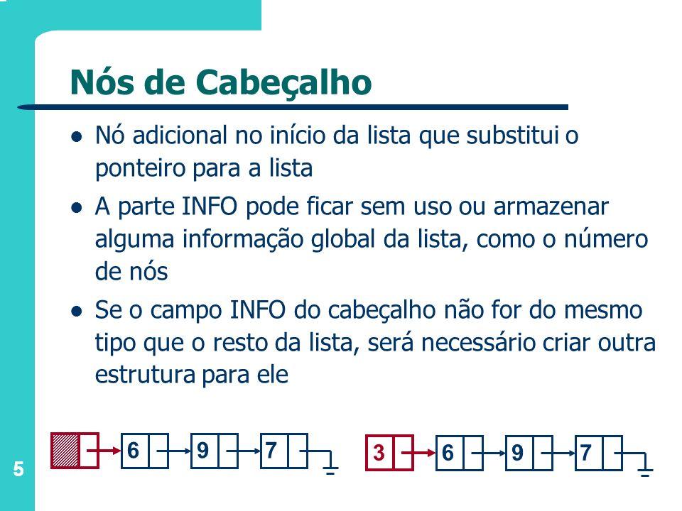 5 Nós de Cabeçalho Nó adicional no início da lista que substitui o ponteiro para a lista A parte INFO pode ficar sem uso ou armazenar alguma informaçã