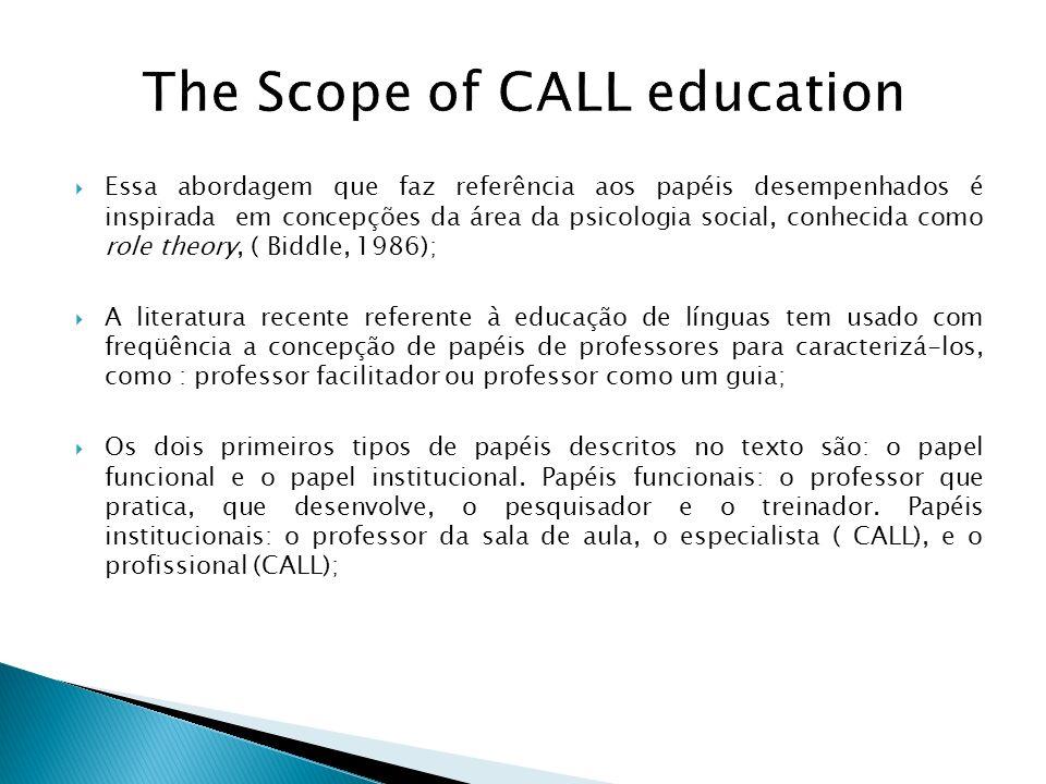 The Scope of CALL education Essa abordagem que faz referência aos papéis desempenhados é inspirada em concepções da área da psicologia social, conheci