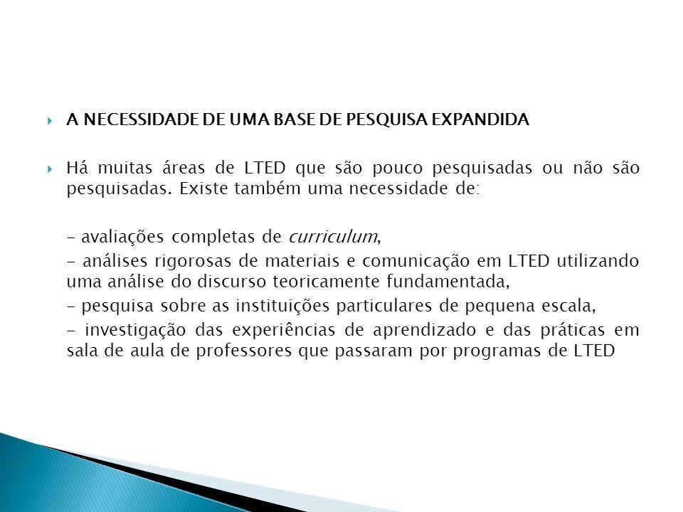 A NECESSIDADE DE UMA BASE DE PESQUISA EXPANDIDA Há muitas áreas de LTED que são pouco pesquisadas ou não são pesquisadas. Existe também uma necessidad