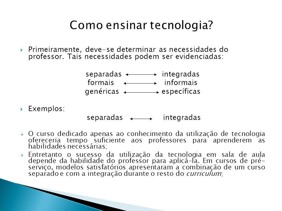 Como ensinar tecnologia? Primeiramente, deve-se determinar as necessidades do professor. Tais necessidades podem ser evidenciadas: separadas integrada