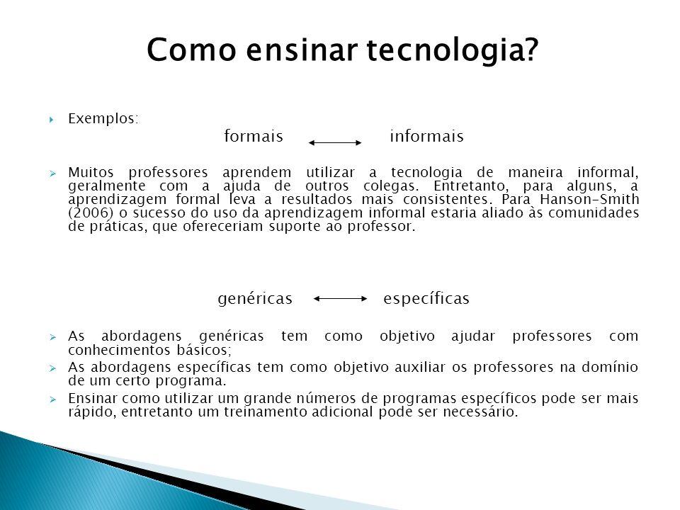 Exemplos: formais informais Muitos professores aprendem utilizar a tecnologia de maneira informal, geralmente com a ajuda de outros colegas. Entretant
