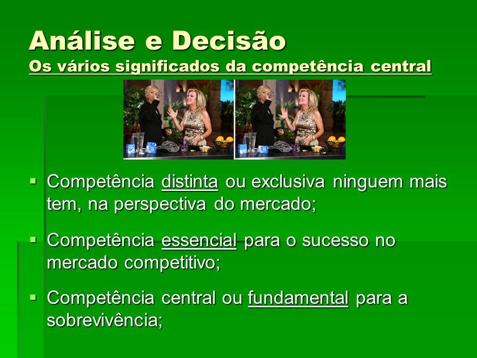 Análise e Decisão Os vários significados da competência central Competência distinta ou exclusiva ninguem mais tem, na perspectiva do mercado; Competê