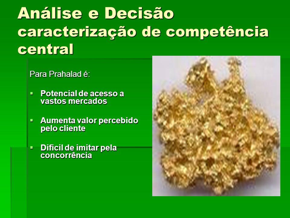Análise e Decisão caracterização de competência central Para Prahalad é: Potencial de acesso a vastos mercados Potencial de acesso a vastos mercados A