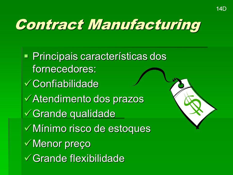 Contract Manufacturing Principais características dos fornecedores: Principais características dos fornecedores: Confiabilidade Confiabilidade Atendim