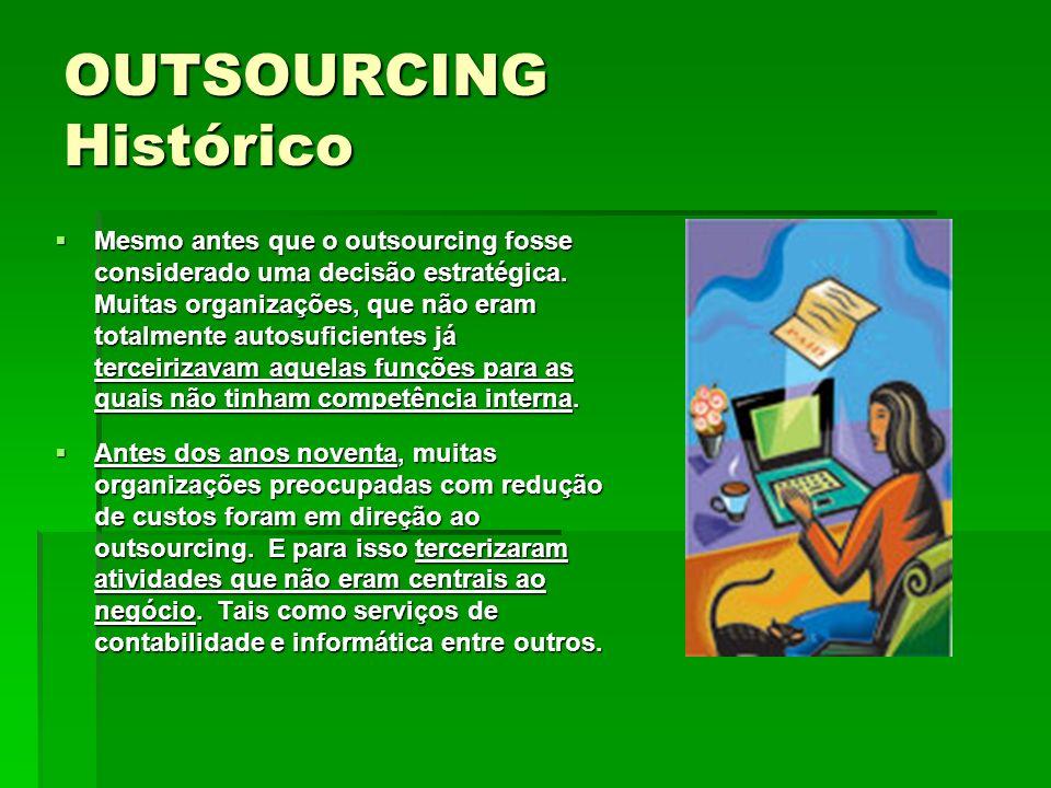 Mesmo antes que o outsourcing fosse considerado uma decisão estratégica. Muitas organizações, que não eram totalmente autosuficientes já terceirizavam