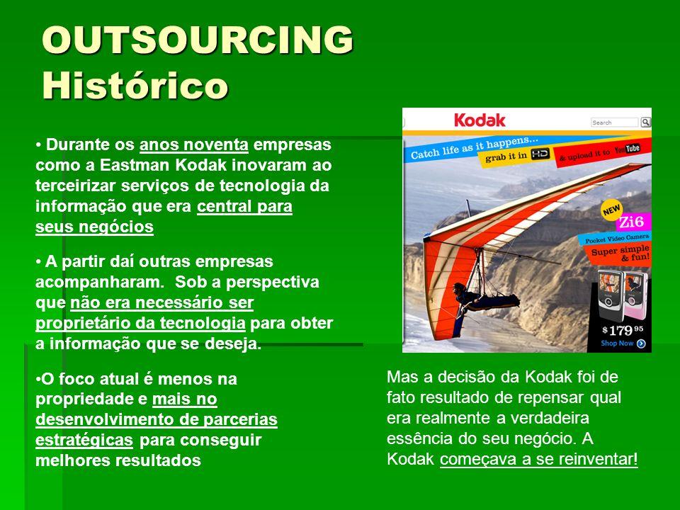 Durante os anos noventa empresas como a Eastman Kodak inovaram ao terceirizar serviços de tecnologia da informação que era central para seus negócios