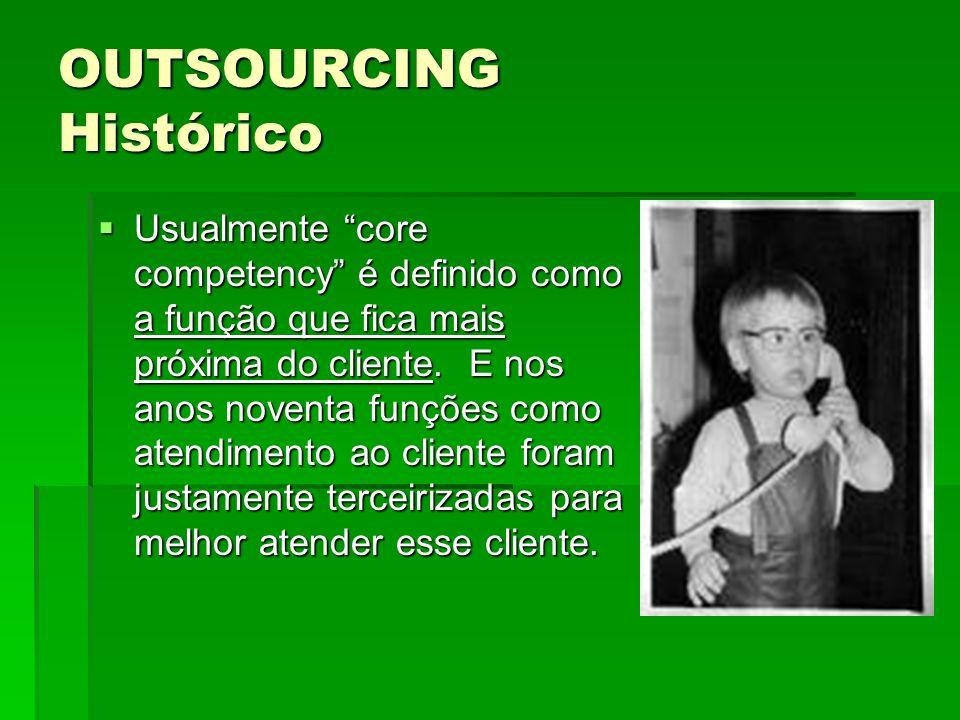 OUTSOURCING Histórico Usualmente core competency é definido como a função que fica mais próxima do cliente. E nos anos noventa funções como atendiment
