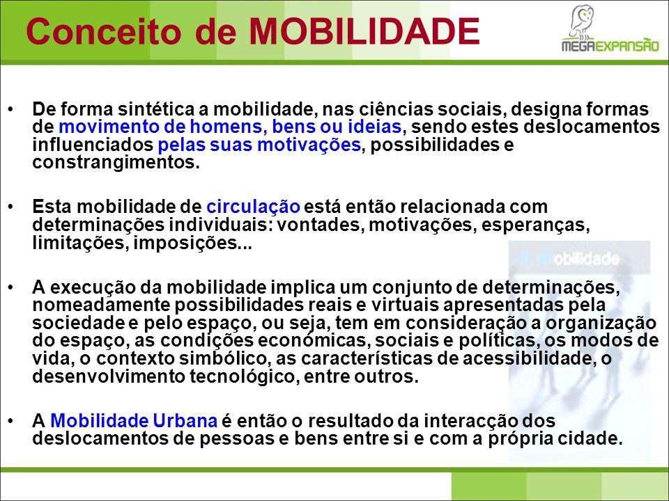 De forma sintética a mobilidade, nas ciências sociais, designa formas de movimento de homens, bens ou ideias, sendo estes deslocamentos influenciados