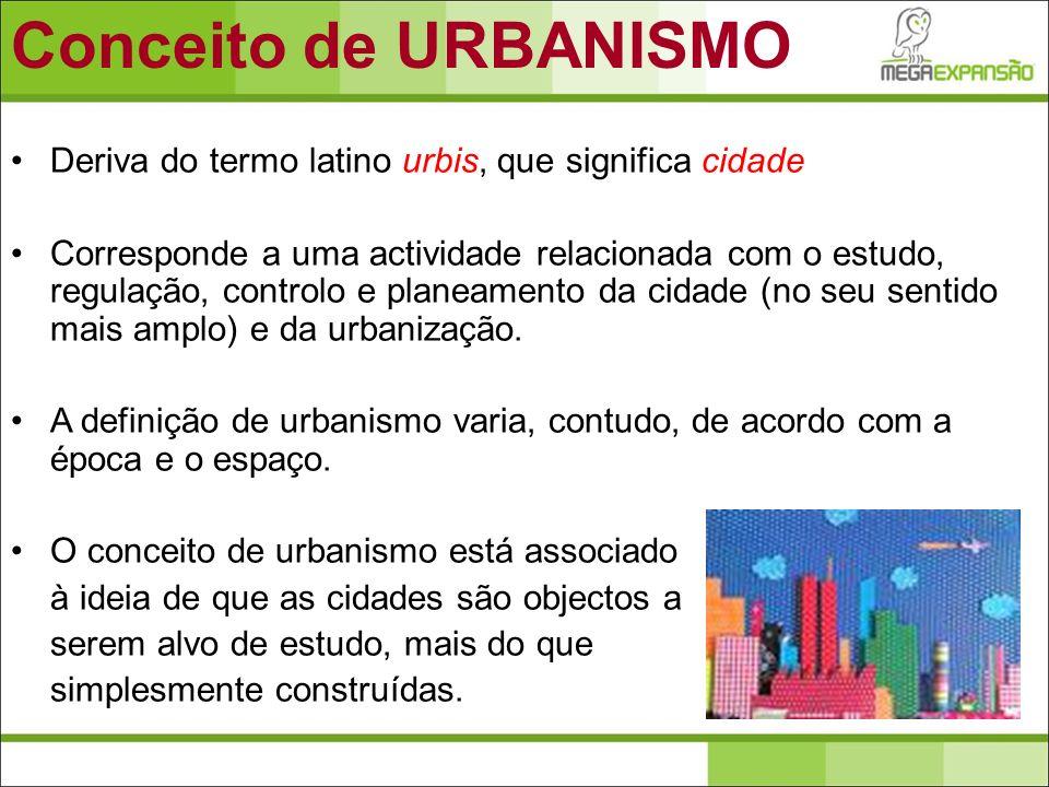 Deriva do termo latino urbis, que significa cidade Corresponde a uma actividade relacionada com o estudo, regulação, controlo e planeamento da cidade