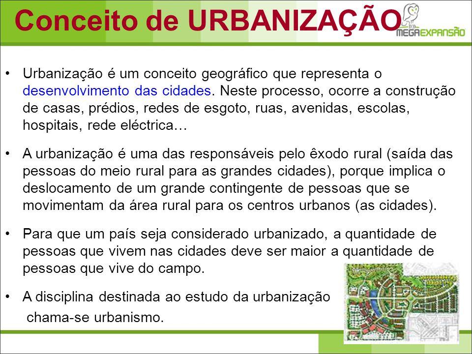 Urbanização é um conceito geográfico que representa o desenvolvimento das cidades. Neste processo, ocorre a construção de casas, prédios, redes de esg