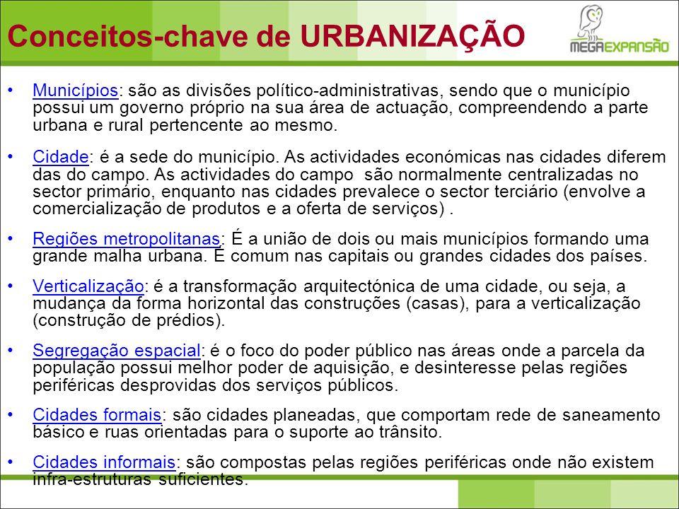 Municípios: são as divisões político-administrativas, sendo que o município possui um governo próprio na sua área de actuação, compreendendo a parte u
