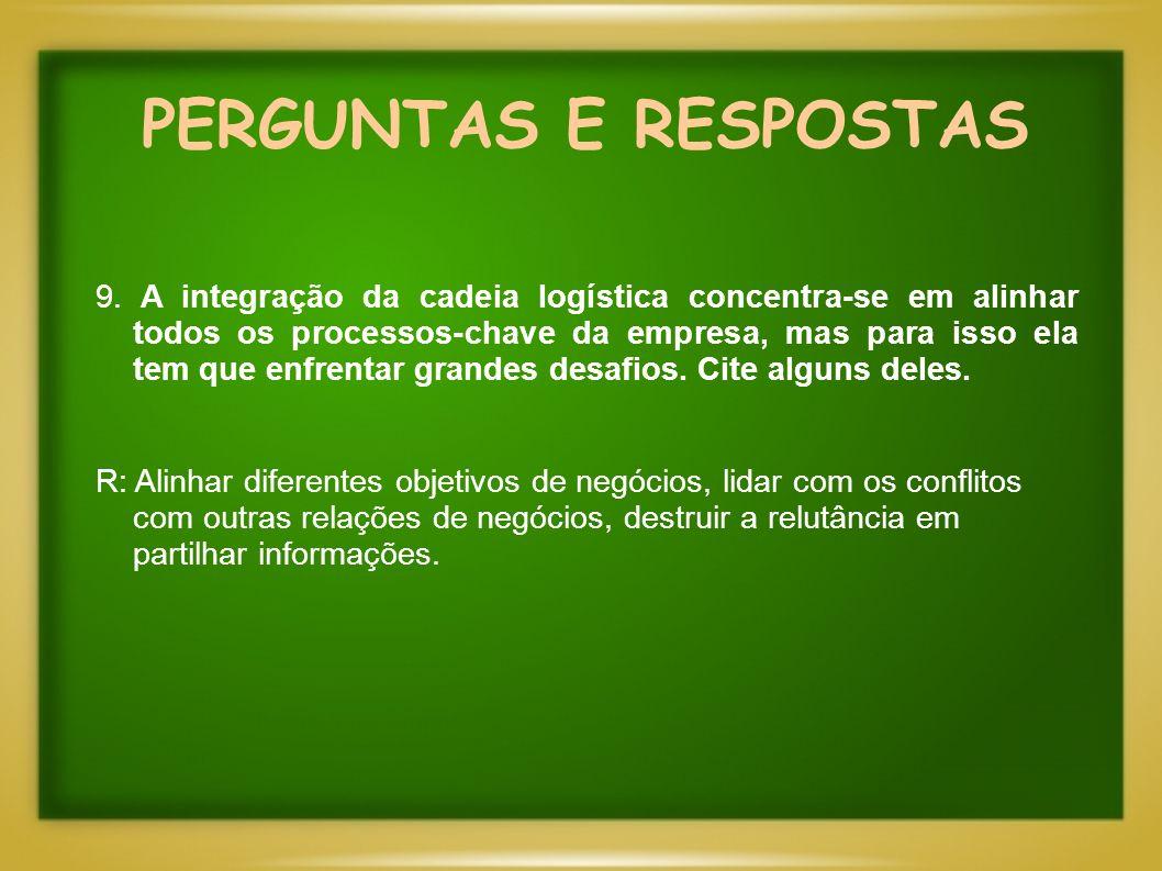 PERGUNTAS E RESPOSTAS 9. A integração da cadeia logística concentra-se em alinhar todos os processos-chave da empresa, mas para isso ela tem que enfre