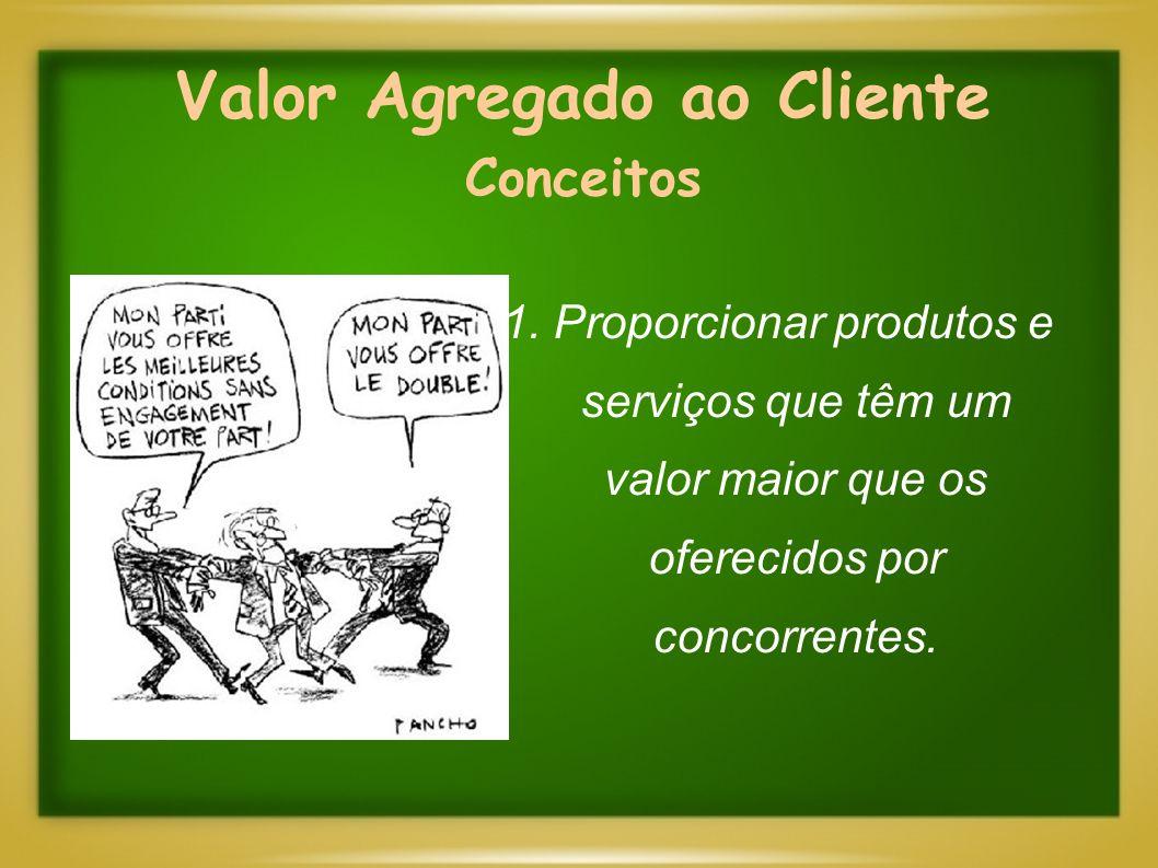 Valor Agregado ao Cliente Conceitos 1. Proporcionar produtos e serviços que têm um valor maior que os oferecidos por concorrentes.