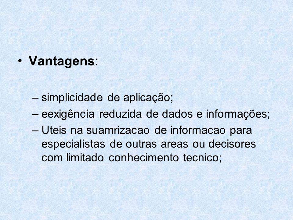 Vantagens: –simplicidade de aplicação; –eexigência reduzida de dados e informações; –Uteis na suamrizacao de informacao para especialistas de outras a