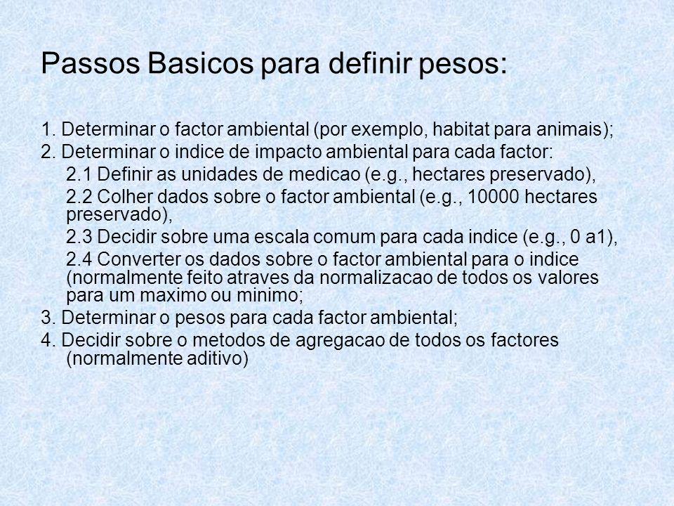 Passos Basicos para definir pesos: 1. Determinar o factor ambiental (por exemplo, habitat para animais); 2. Determinar o indice de impacto ambiental p