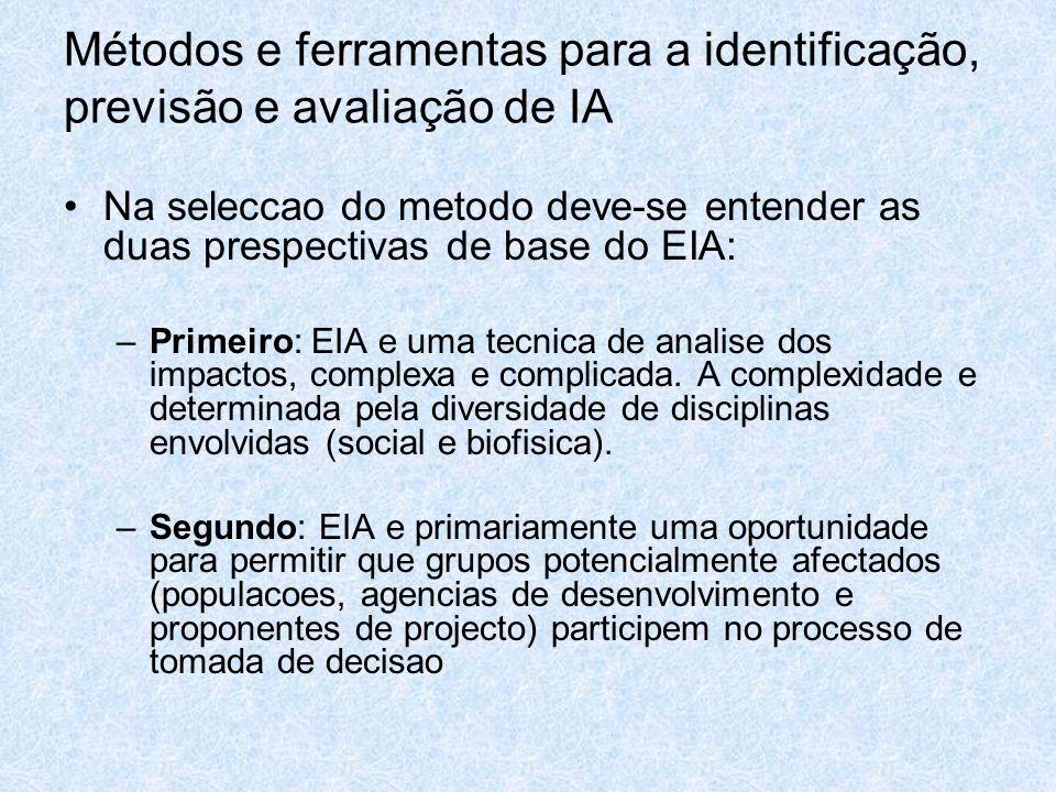 Métodos e ferramentas para a identificação, previsão e avaliação de IA Na seleccao do metodo deve-se entender as duas prespectivas de base do EIA: –Pr