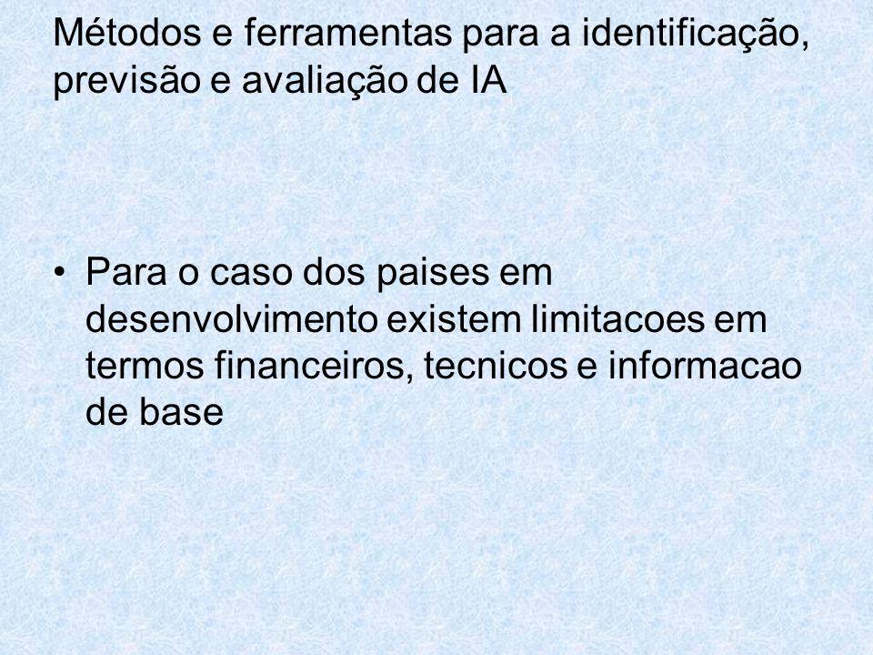 Métodos e ferramentas para a identificação, previsão e avaliação de IA Para o caso dos paises em desenvolvimento existem limitacoes em termos financei