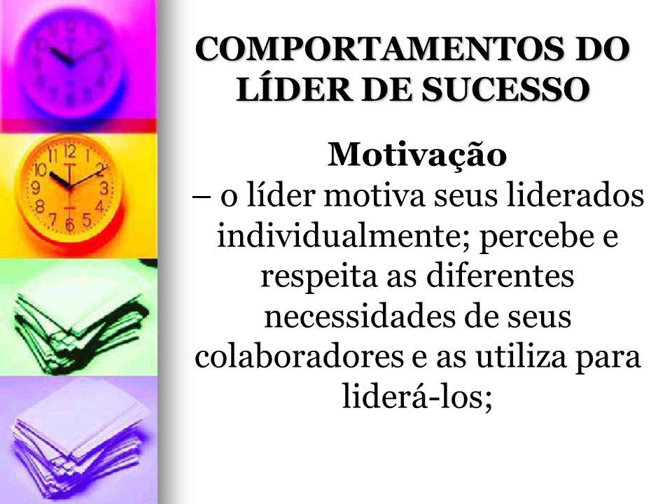 COMPORTAMENTOS DO LÍDER DE SUCESSO Motivação – o líder motiva seus liderados individualmente; percebe e respeita as diferentes necessidades de seus colaboradores e as utiliza para liderá-los;