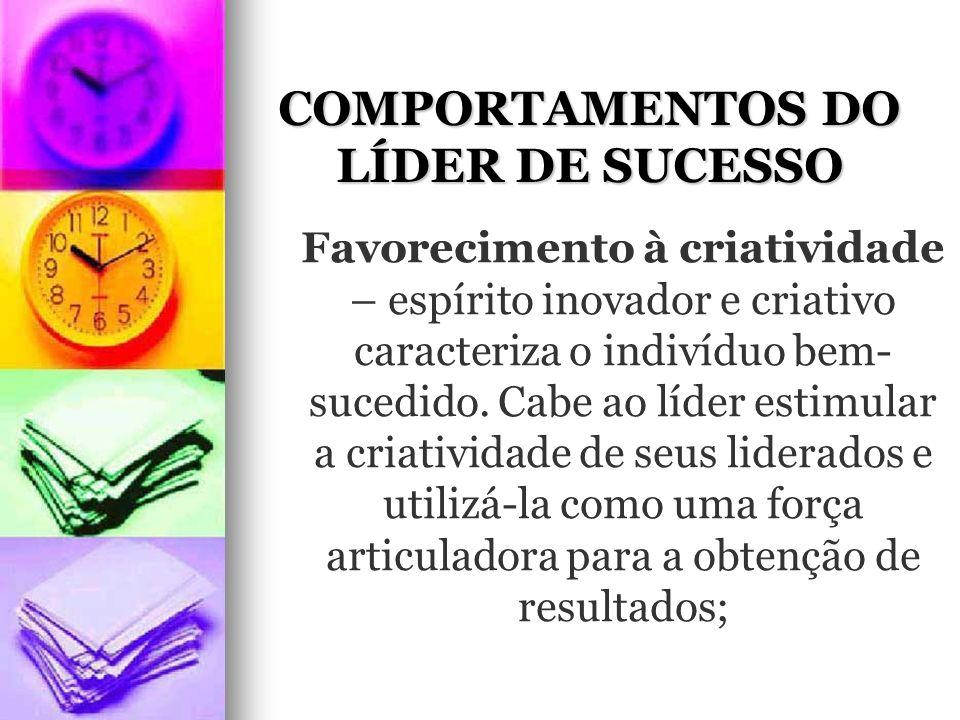 COMPORTAMENTOS DO LÍDER DE SUCESSO Favorecimento à criatividade – espírito inovador e criativo caracteriza o indivíduo bem- sucedido.