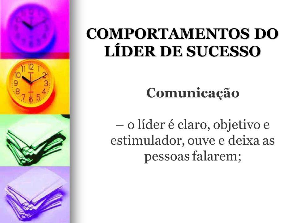 COMPORTAMENTOS DO LÍDER DE SUCESSO Comunicação – o líder é claro, objetivo e estimulador, ouve e deixa as pessoas falarem;