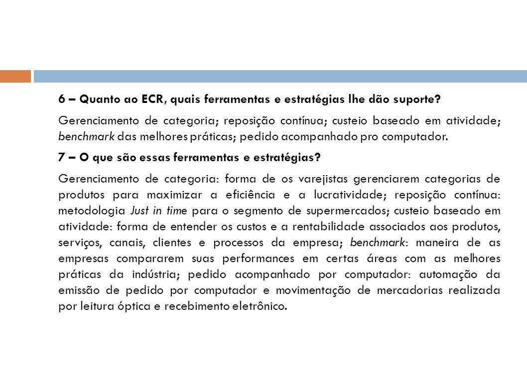 6 – Quanto ao ECR, quais ferramentas e estratégias lhe dão suporte? Gerenciamento de categoria; reposição contínua; custeio baseado em atividade; benc