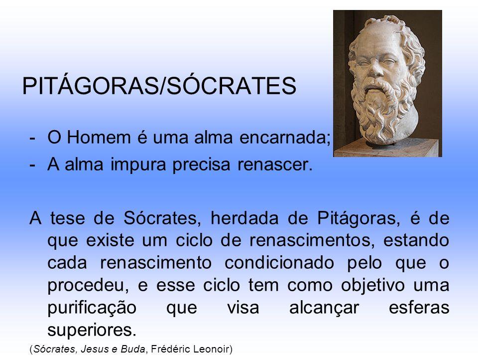 PITÁGORAS/SÓCRATES -O Homem é uma alma encarnada; -A alma impura precisa renascer. A tese de Sócrates, herdada de Pitágoras, é de que existe um ciclo