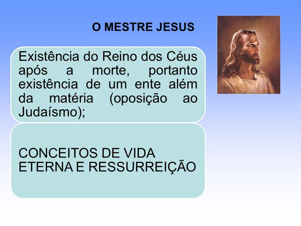 O MESTRE JESUS Existência do Reino dos Céus após a morte, portanto existência de um ente além da matéria (oposição ao Judaísmo); CONCEITOS DE VIDA ETE