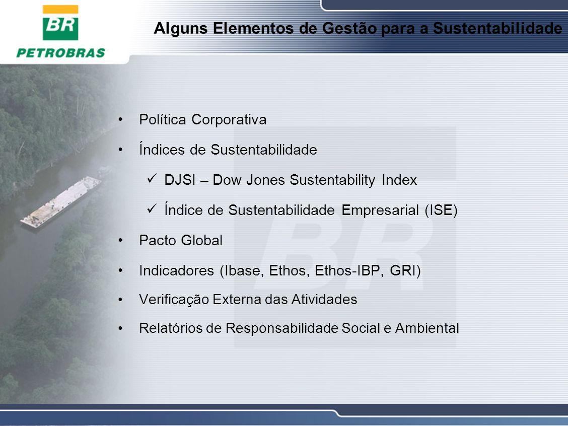 Alguns Elementos de Gestão para a Sustentabilidade Política Corporativa Índices de Sustentabilidade DJSI – Dow Jones Sustentability Index Índice de Sustentabilidade Empresarial (ISE) Pacto Global Indicadores (Ibase, Ethos, Ethos-IBP, GRI) Verificação Externa das Atividades Relatórios de Responsabilidade Social e Ambiental
