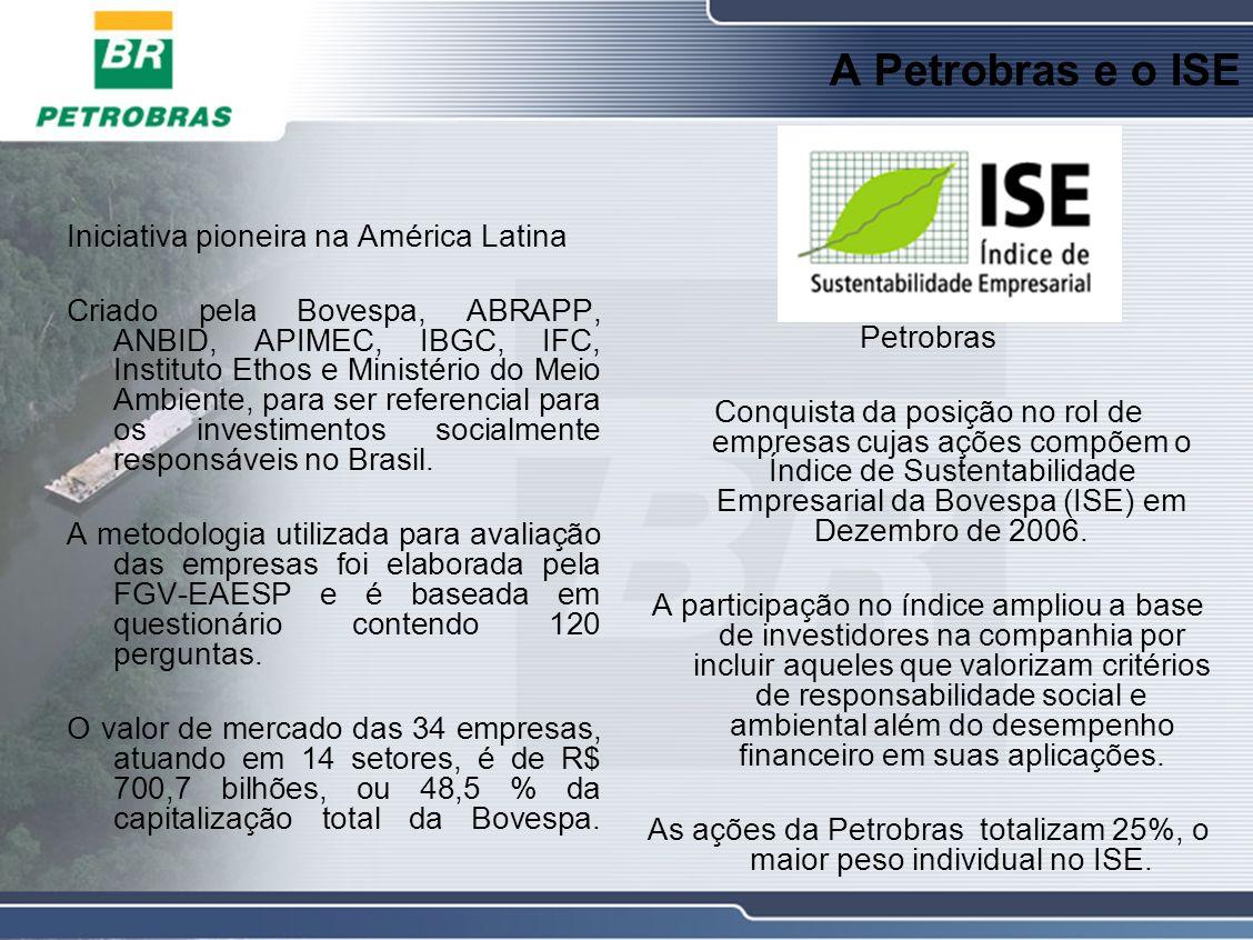 A Petrobras e o ISE Iniciativa pioneira na América Latina Criado pela Bovespa, ABRAPP, ANBID, APIMEC, IBGC, IFC, Instituto Ethos e Ministério do Meio Ambiente, para ser referencial para os investimentos socialmente responsáveis no Brasil.