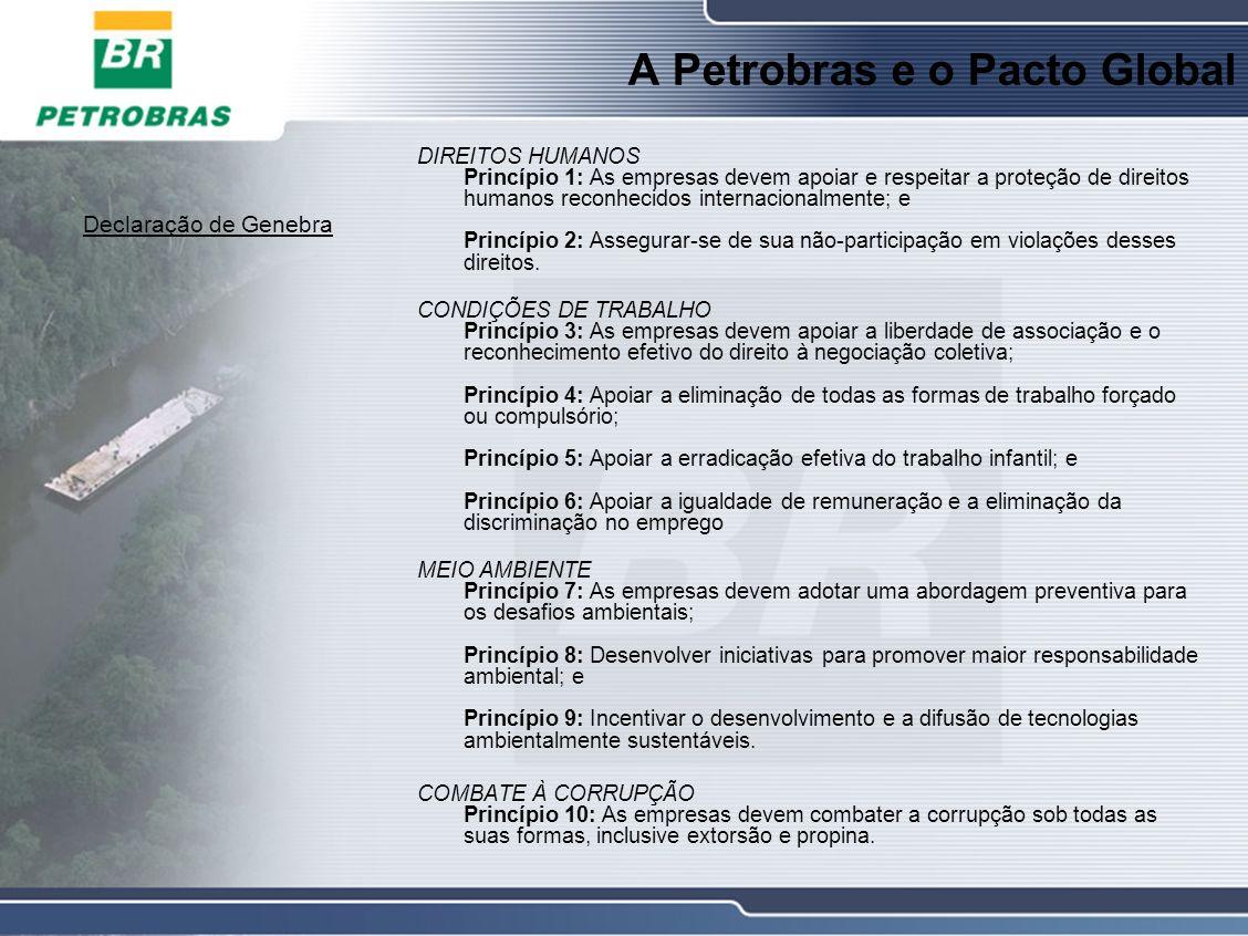 A Petrobras e o Pacto Global Declaração de Genebra DIREITOS HUMANOS Princípio 1: As empresas devem apoiar e respeitar a proteção de direitos humanos reconhecidos internacionalmente; e Princípio 2: Assegurar-se de sua não-participação em violações desses direitos.