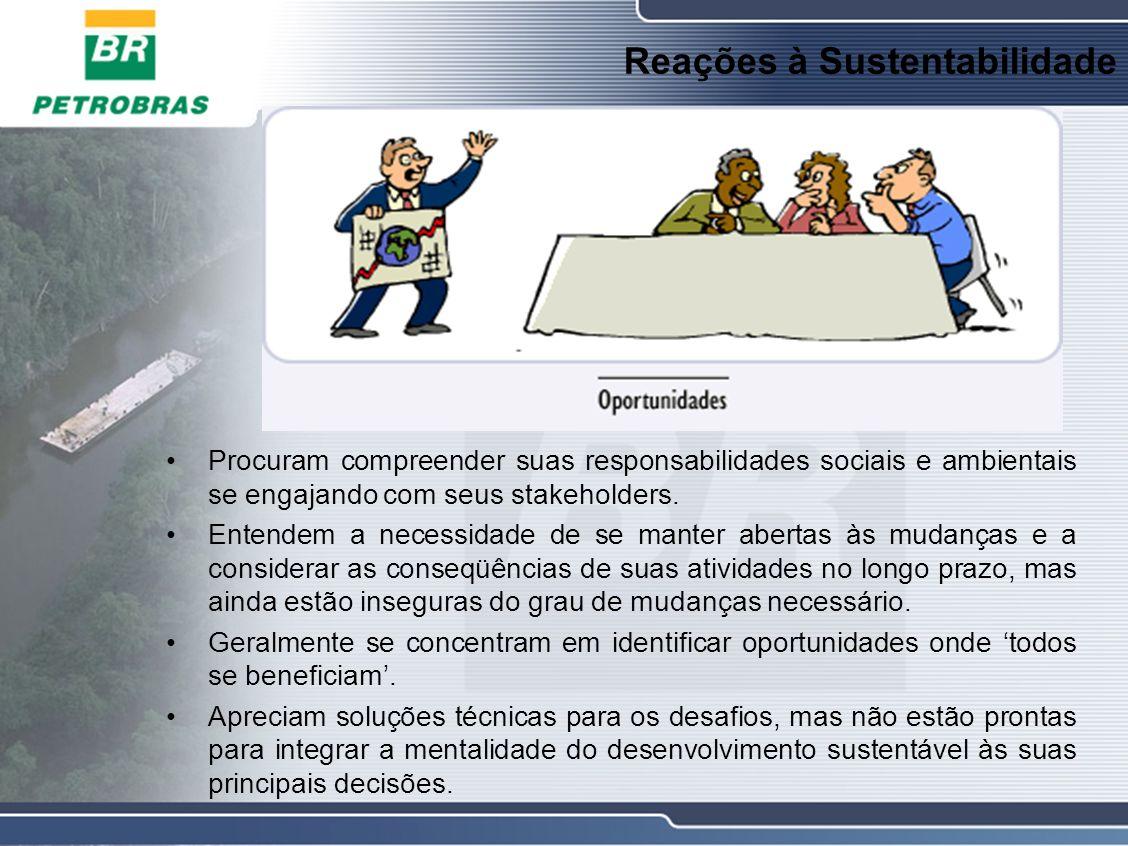 Reações à Sustentabilidade Procuram compreender suas responsabilidades sociais e ambientais se engajando com seus stakeholders.