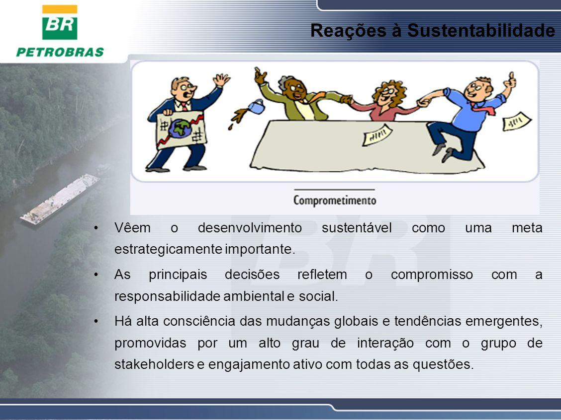 Reações à Sustentabilidade Vêem o desenvolvimento sustentável como uma meta estrategicamente importante.