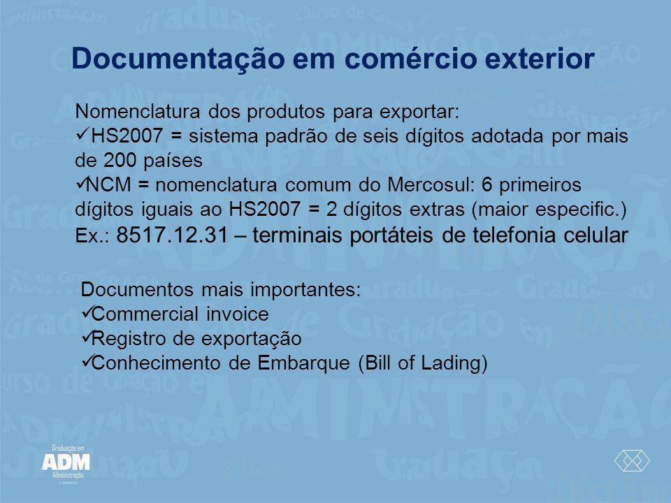 Documentação em comércio exterior Nomenclatura dos produtos para exportar: HS2007 = sistema padrão de seis dígitos adotada por mais de 200 países NCM