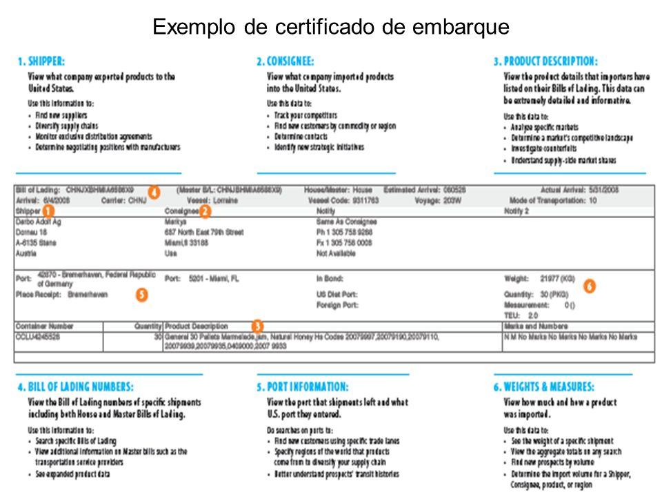 Exemplo de certificado de embarque