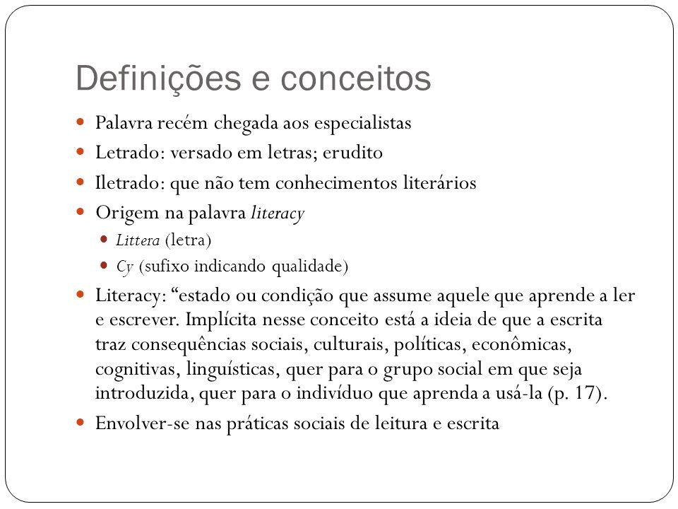 Definições e conceitos Palavra recém chegada aos especialistas Letrado: versado em letras; erudito Iletrado: que não tem conhecimentos literários Orig