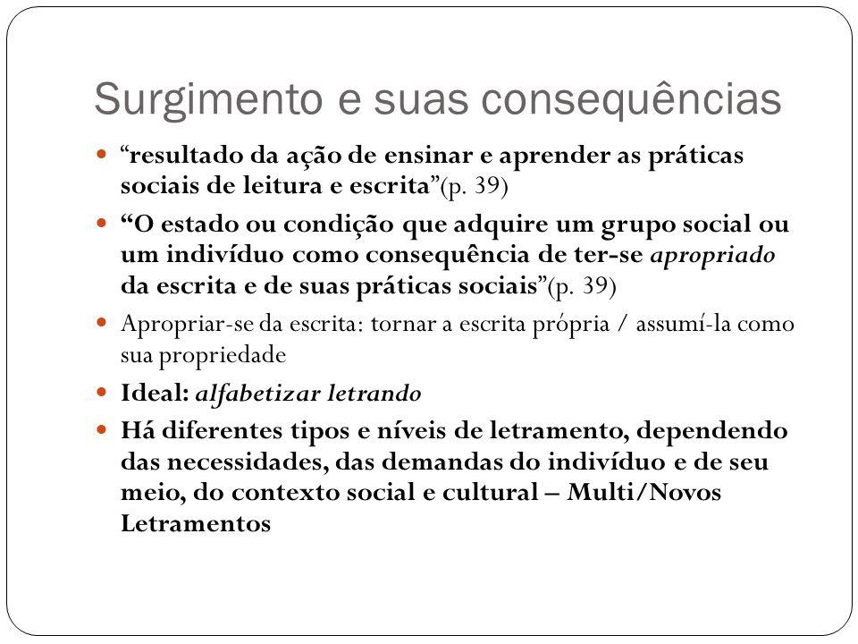Surgimento e suas consequências resultado da ação de ensinar e aprender as práticas sociais de leitura e escrita(p.