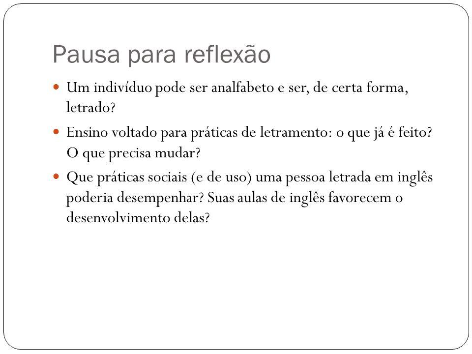 Pausa para reflexão Um indivíduo pode ser analfabeto e ser, de certa forma, letrado.