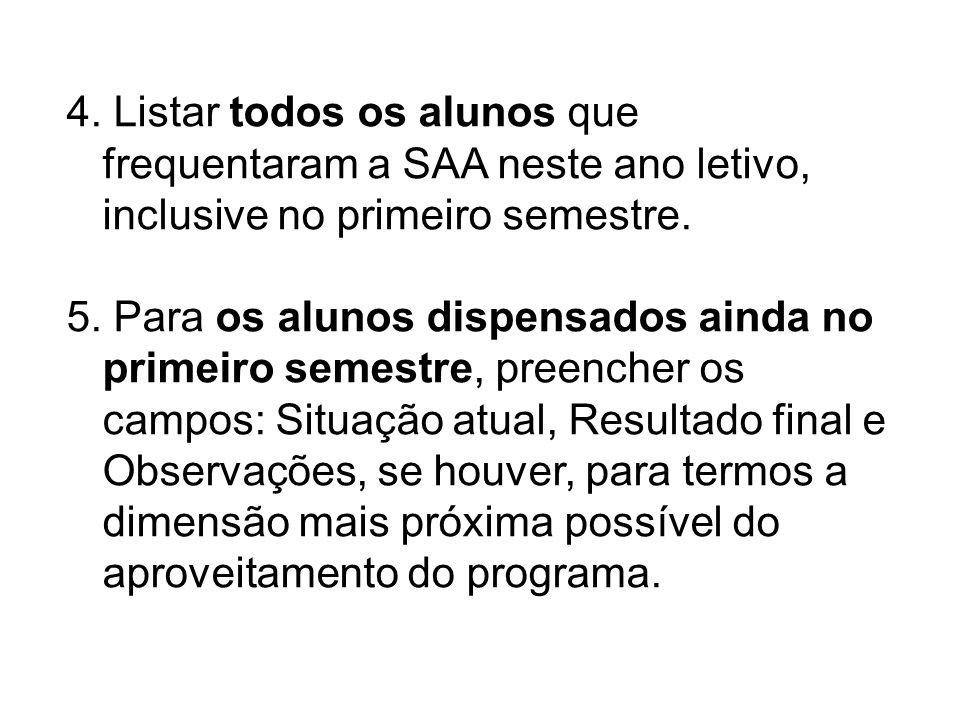 4. Listar todos os alunos que frequentaram a SAA neste ano letivo, inclusive no primeiro semestre. 5. Para os alunos dispensados ainda no primeiro sem