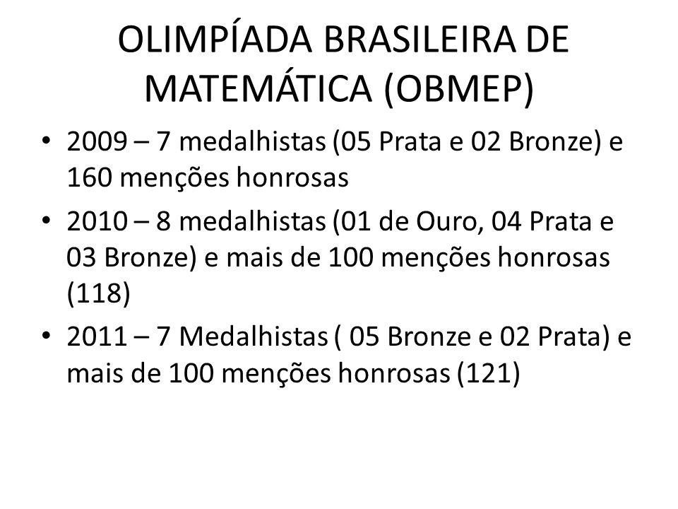 OLIMPÍADA BRASILEIRA DE MATEMÁTICA (OBMEP) 2009 – 7 medalhistas (05 Prata e 02 Bronze) e 160 menções honrosas 2010 – 8 medalhistas (01 de Ouro, 04 Pra